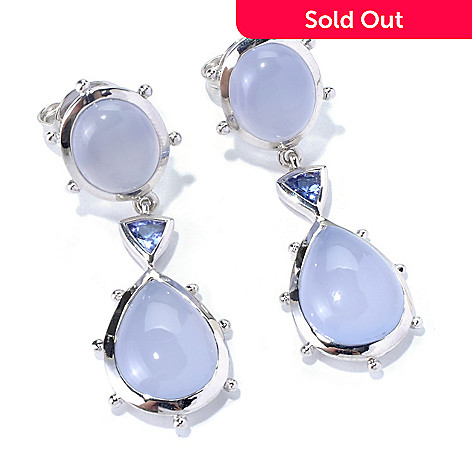 130-298 - Dallas Prince Sterling Silver 1.75'' Chalcedony & Tanzanite Drop Earrings