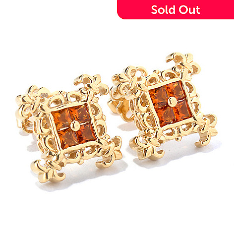 130-301 - Dallas Prince Square Gemstone Fleur-de-lis Stud Earrings
