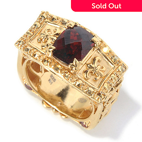 130-309 - Dallas Prince 2.54ctw Cushion Shaped Garnet & Marcasite Rectangle Ring