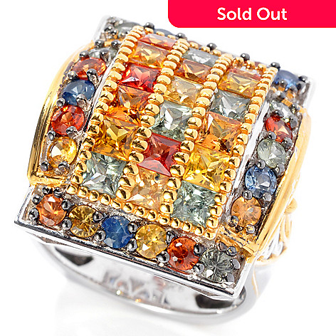 130-319 - Gems en Vogue 5.00ctw Round & Princess Cut Multi Color Sapphire Ring