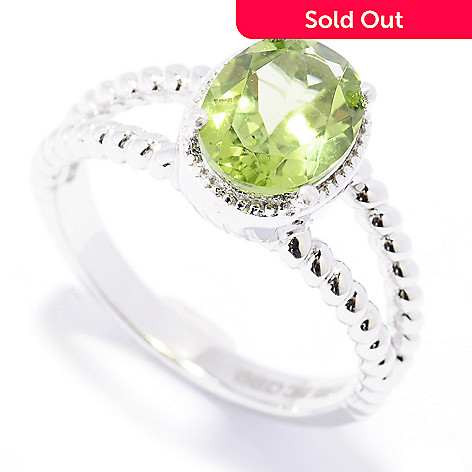 130-335 - Gem Insider™ Sterling Silver 1.50ctw Oval Shaped Peridot Split Shank Ring