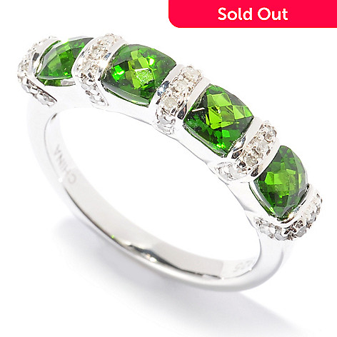 130-336 - Gem Insider™ Sterling Silver 1.25ctw Chrome Diopside & Diamond Four-Stone Ring