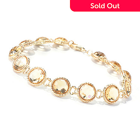 130-351 - Viale18K® Italian Gold 7.5'' Citrine Link Bracelet