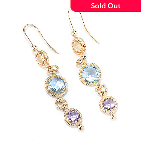 130-353 - Viale18K® Italian Gold 6.52ctw Multi Gemstone Linear Earrings