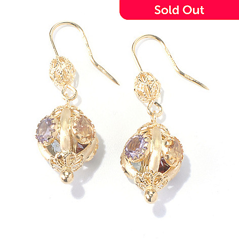 130-354 - Viale18K® Italian Gold 1.5'' 7.98ctw Multi Gemstone Ornate Earrings