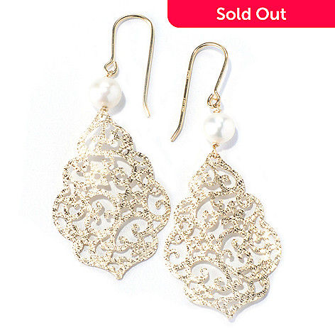 130-355 - Viale18K® Italian Gold 2'' 6mm Cultured Freshwater Pearl Openwork Earrings