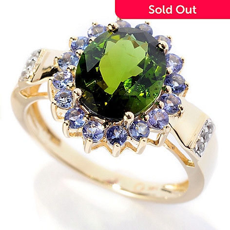 130-359 - Gem Treasures® 14K Gold 2.81ctw Green Tourmaline, Tanzanite & White Sapphire Ring