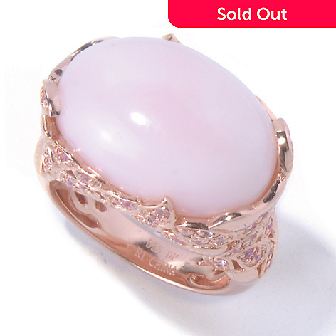 130-360 - Dallas Prince 19 x 13mm Oval Pink Opal & Pink Sapphire Leaf Design Ring