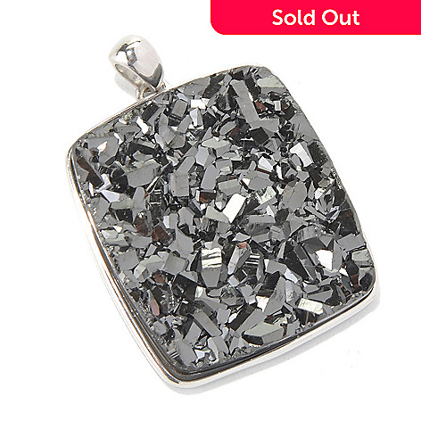 130-363 - Gem Insider Sterling Silver 29 x 26mm Black Drusy Rectangle Pendant