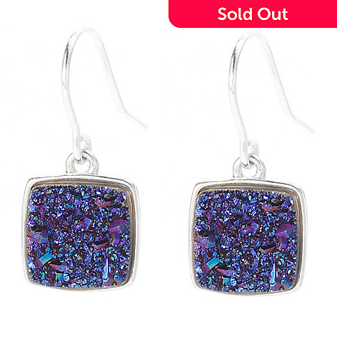 130-364 - Gem Insider™ Sterling Silver 10mm Square Color Drusy Drop Earrings