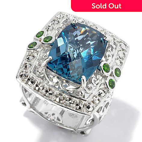 130-375 - Dallas Prince Sterling Silver 8.49ctw London Blue Topaz & Gem Scrollwork Ring