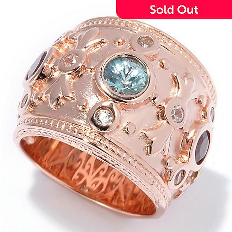 130-376 - Dallas Prince 1.89ctw Multi Colored Zircon Fleur-de-lis Wide Band Ring