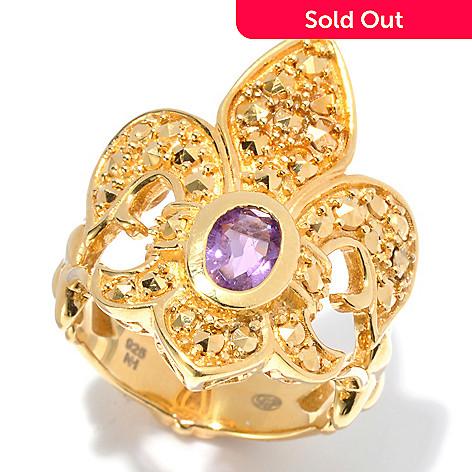 130-378 - Dallas Prince 2.14ctw Amethyst & Chrome Marcasite Fleur-de-lis Ring