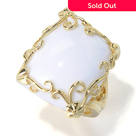 130-387 - Dallas Prince 19 x 15mm Cushion Shaped White Agate Scrollwork Ring