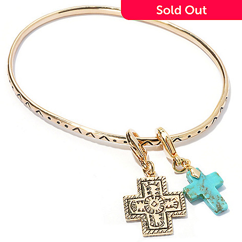 130-388 - Elements by Sarkash 7.75'' Turquoise Oxidized Bangle Bracelet w/ Cross Charms