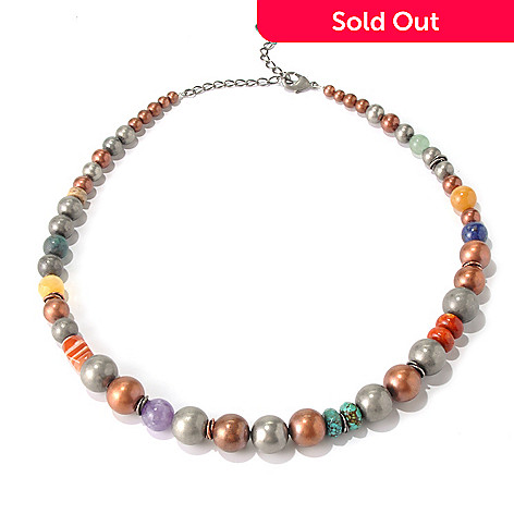 130-392 - Elements by Sarkash Two-tone 19'' Multi Gemstone Graduated Bead Necklace