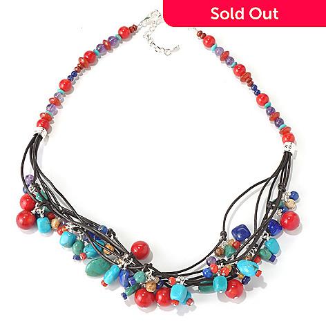 130-394 - Elements by Sarkash Genuine Leather Multi Gemstone Charm Necklace