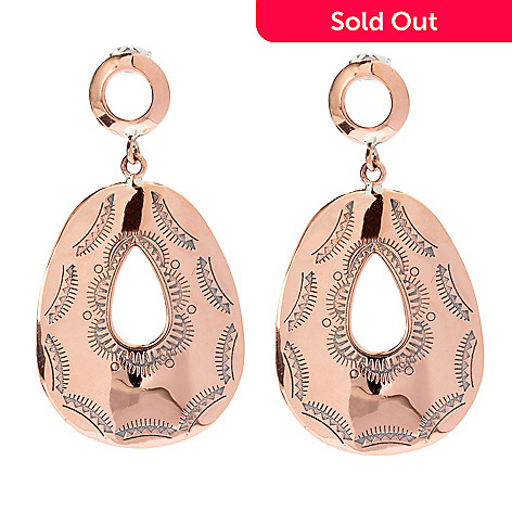 130-397 - Elements by Sarkash Copper 1.75'' Pear Shaped Geometric Engraved Drop Earrings
