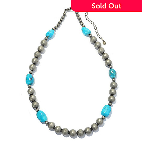 130-401 - Elements by Sarkash 18'' Turquoise Nugget Bead Necklace