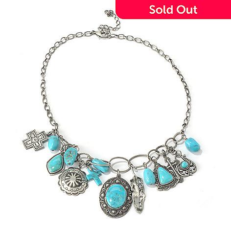 130-406 - Elements by Sarkash 17'' Nacozari Turquoise Charm Necklace