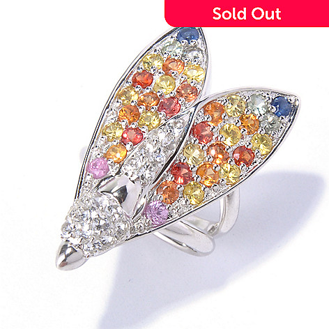 130-414 - Colette 3.96ctw Multi Sapphire & White Topaz Wasp Ring