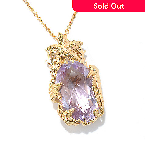 130-420 - Colette 23.12ctw Diamond & Pink Amethyst ''Under the Sea'' Pendant w/ Chain