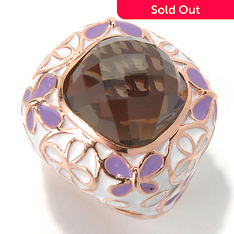 130-432 - Dallas Prince 7.88ctw Cushion Shaped Smoky Quartz & Enamel Floral Ring