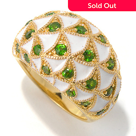 130-433 - Dallas Prince Designs 1.23ctw Chrome Diopside & Enamel Triangle Pattern Dome Ring