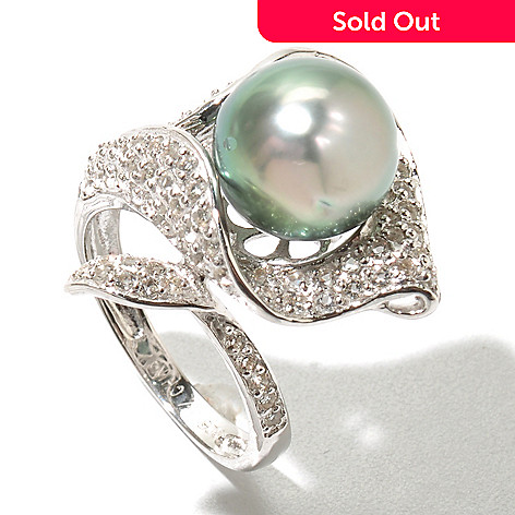 130-435 - Sterling Silver 10-11mm Black Tahitian Cultured Pearl & Topaz Calla Lily Ring