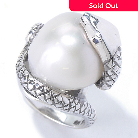 130-442 - Sterling Silver 16-18mm Freshwater Cultured Pearl & Sapphire ''Year of the Snake'' Ring