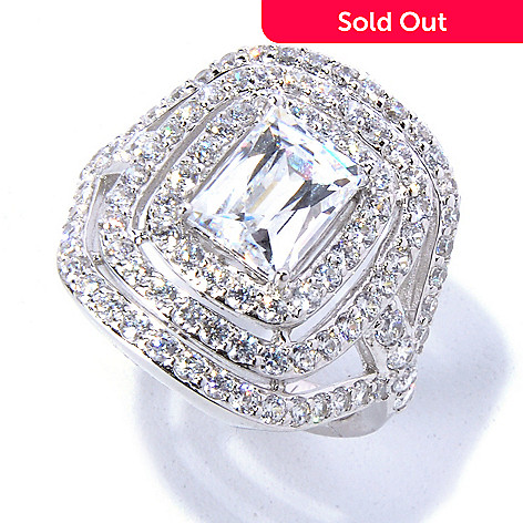 130-455 - TYCOON Platinum Embraced™ 3.32 DEW Rectangle Simulated Diamond Triple Halo Ring