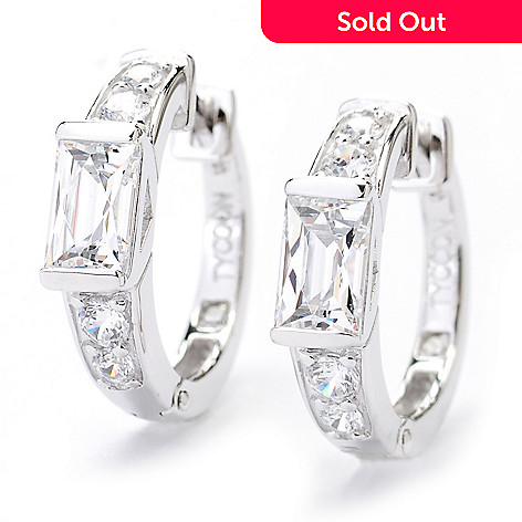 130-463 - TYCOON 1.20 DEW Round & Rectangle Huggie Simulated Diamond Hoop Earrings