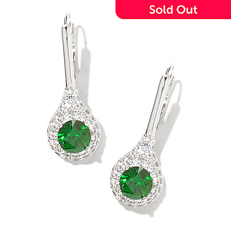 130-464 - TYCOON 1'' 3.27 DEW Platinum Embraced™ Simulated Emerald Drop Earrings