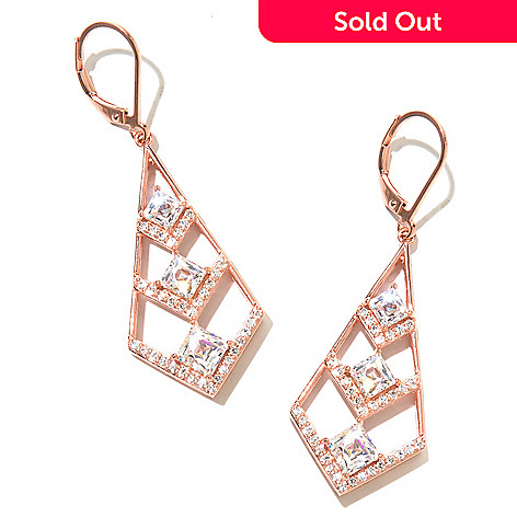 130-465 - TYCOON 4.06 DEW Tycoon Cut Simulated Diamond Triple Chevron Dangle Earrings
