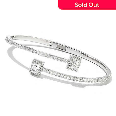 130-466 - TYCOON 3.16 DEW Platinum Embraced™ Simulated Diamond Hinged Bypass Oval Cuff Bracelet