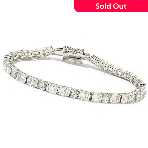 130-469 - TYCOON Platinum Embraced™ Simulated Diamond Square & Round Tennis Bracelet