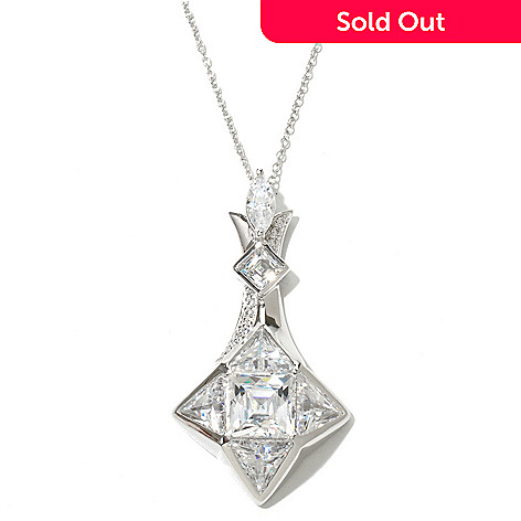 130-473 - TYCOON Platinum Embraced™ 8.39 DEW Simulated Diamond Star Pendant w/ Chain