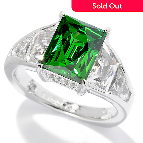 130-474 - TYCOON 5.08 DEW Platinum Embraced™ Simulated Emerald Rectangle Ring