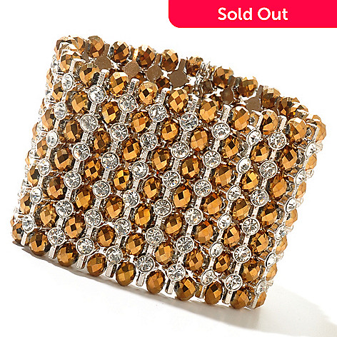 130-477 - RUSH 6.25'' Bronze Bead & Crystal Stretch Bracelet