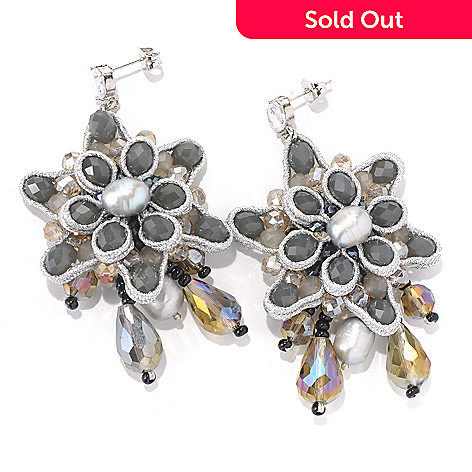 130-481 - RUSH 3'' Grey Freshwater Cultured Pearl & Crystal Beaded Flower Earrings