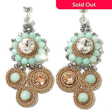 130-484 - RUSH 3.25'' Crocheted Seafoam & Gunmetal Beaded Drop Earrings