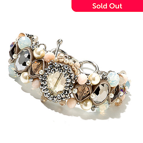 130-492 - RUSH 9'' Crystal & Glass Beaded Pastel Toggle Bracelet