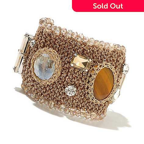 130-493 - RUSH 8'' Crystal Embellished Crochet Wide Toggle Bracelet