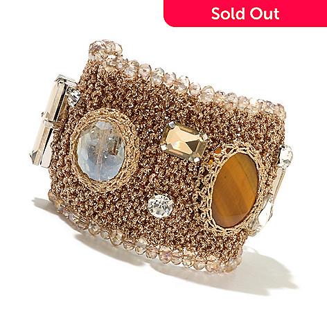 130-493 - RUSH 8'' Crystal Embellished Crochet Wide Toggle Bracelet