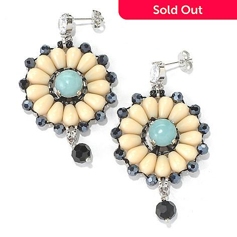 130-497 - RUSH 2.5'' Beaded Floral Design Drop Earrings
