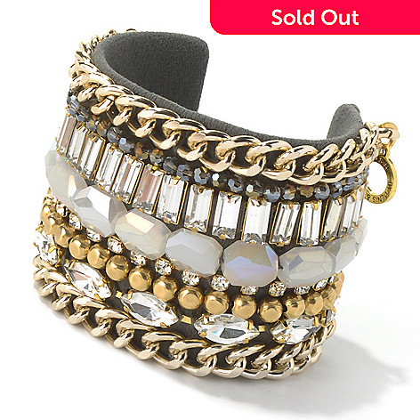 130-498 - RUSH 6.75'' Crystal, Glass Bead & Chain Mixed Media Cuff Bracelet