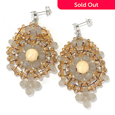 130-499 - RUSH 2.75'' Crystal & Glass Bead Yellow Center Drop Earrings