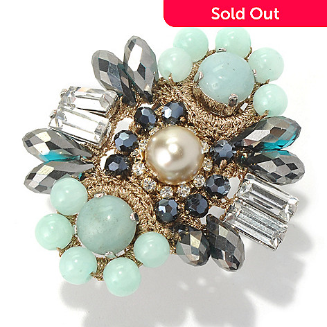 130-500 - RUSH Aqua & Gunmetal Beaded Mixed Media Statement Ring