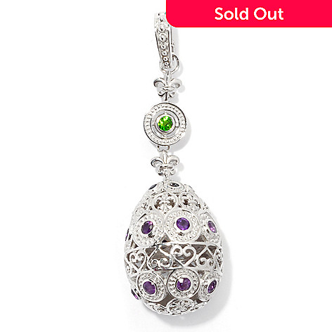 130-502 - Dallas Prince Sterling Silver 2.5'' Multi Gem Fleur-de-lis Egg Enhancer Pendant