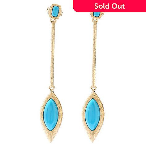 130-504 - Michelle Albala Sleeping Beauty Turquoise Elongated 2.5'' Drop Earrings